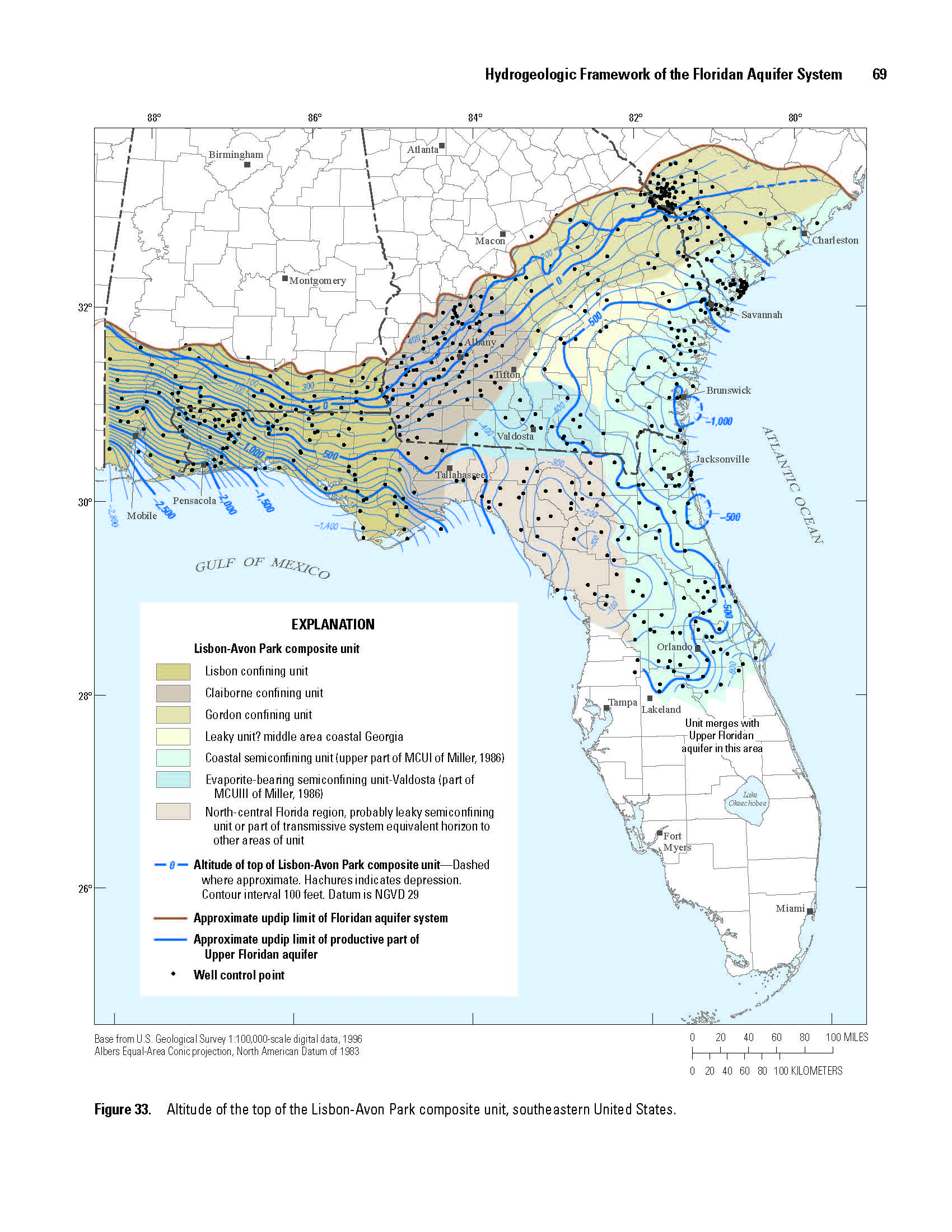 Florida Aquifer Map.Ds926 Digital Surfaces And Thicknesses Of Selected Hydrogeologic