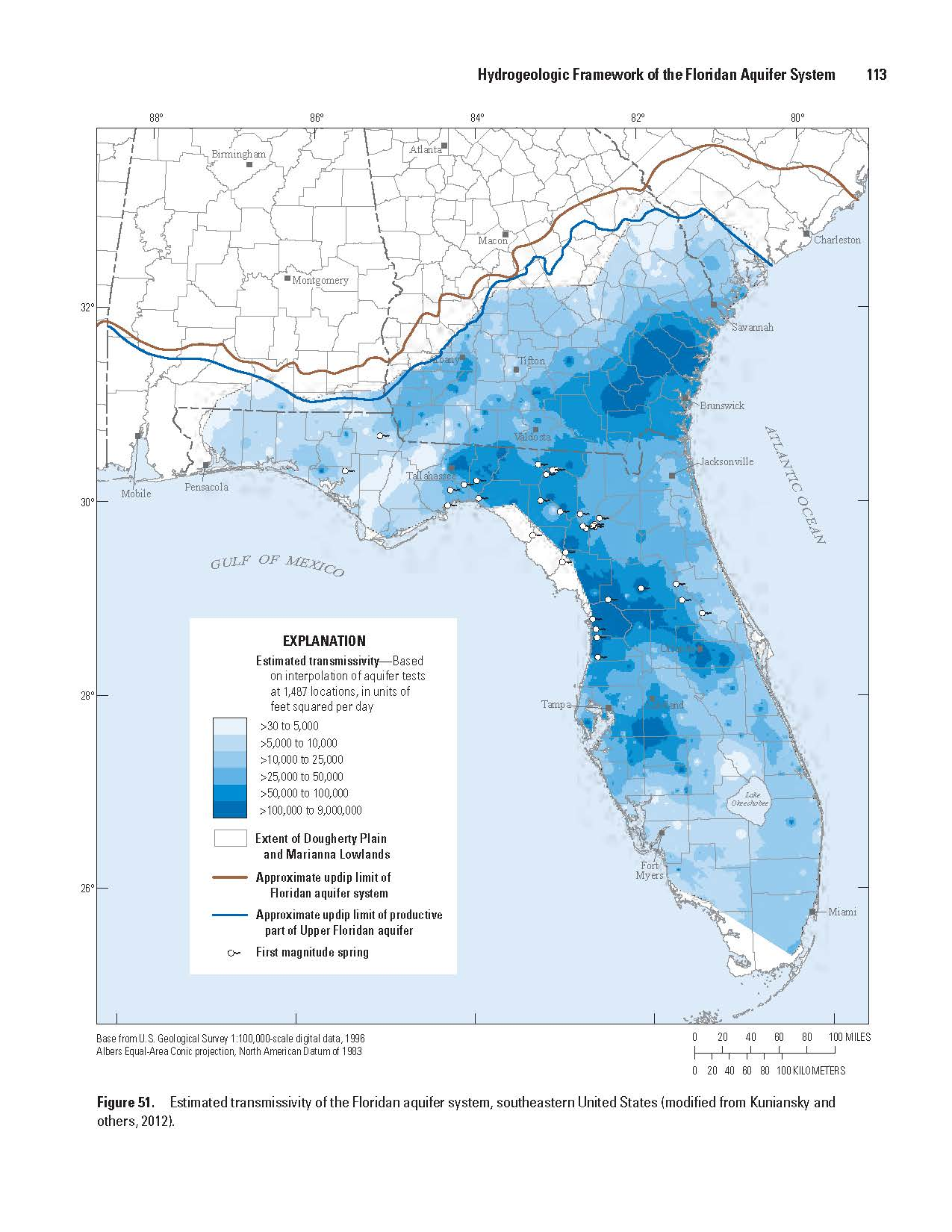 Transmissivity of the Upper Floridan aquifer system