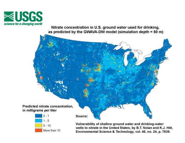 Map of nitrate concentration in U.S. ground water used for drinking, as predicted by the GWAVA-DW model.