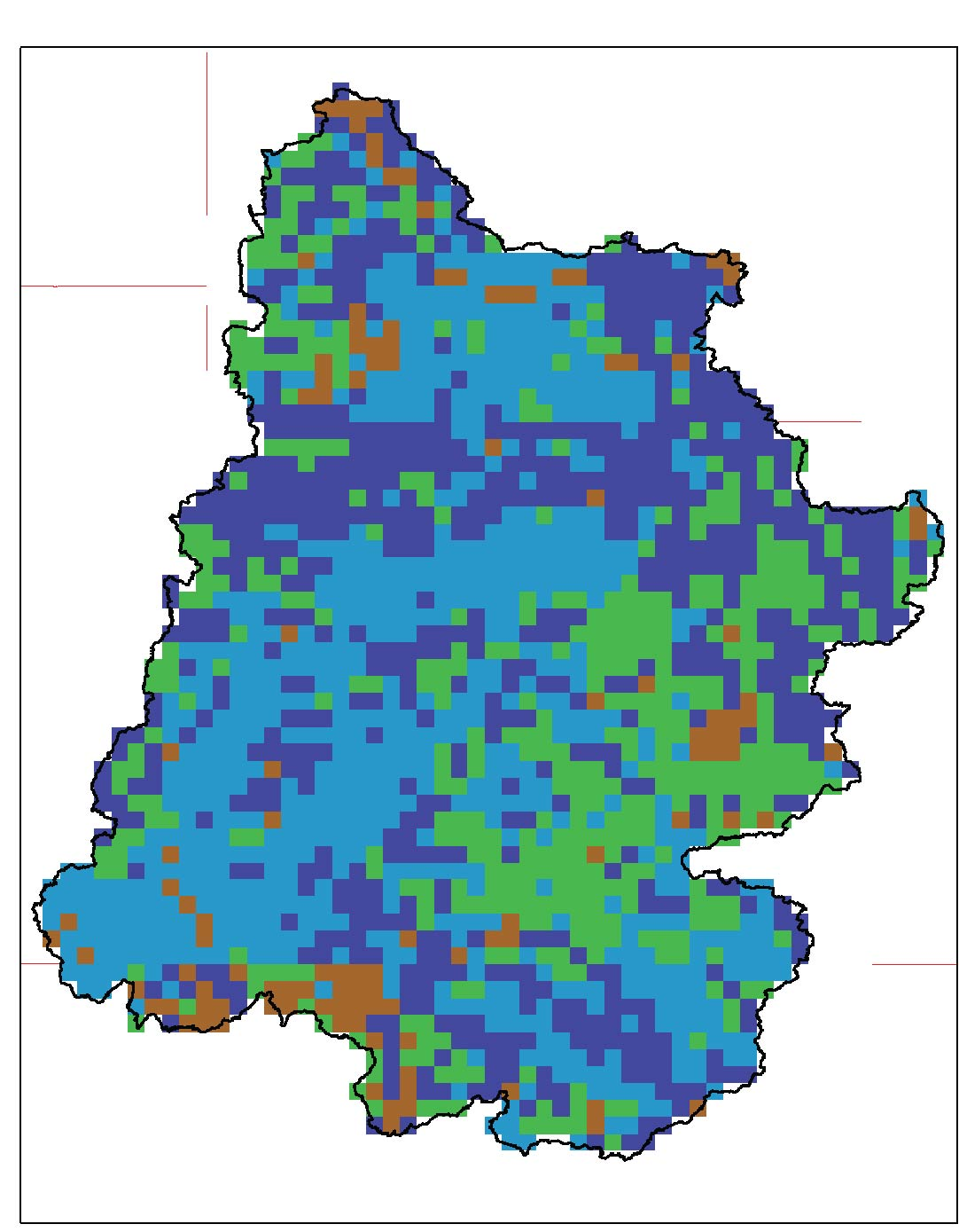 Map of available hydrologic soil group (hsg) resampled to Maurer climate resolution