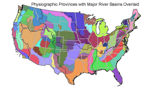 In Square Meters Compiled For Every MRBERF Catchment Of - Us physiographic regions map