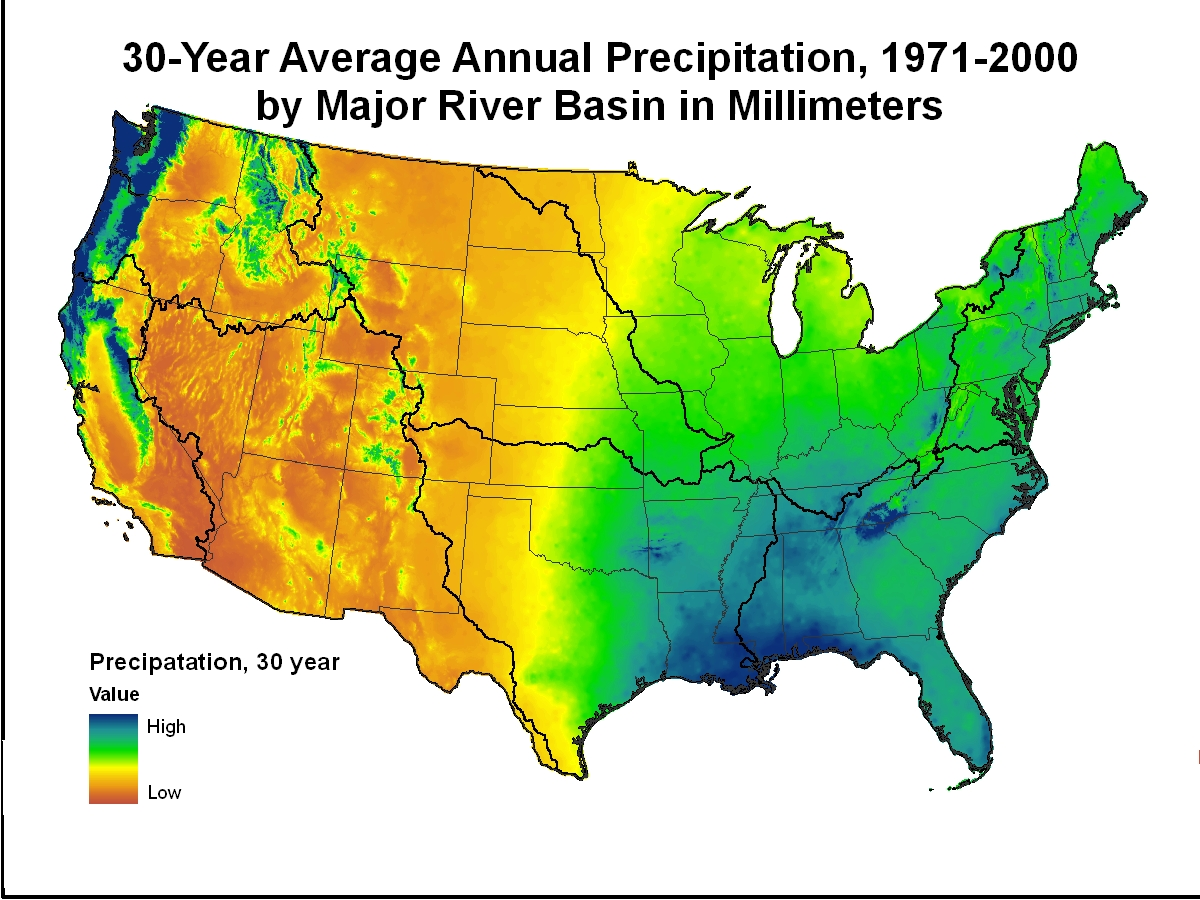 Precipitation In Millimeters Multiplied By Compiled For Every - Us precip map
