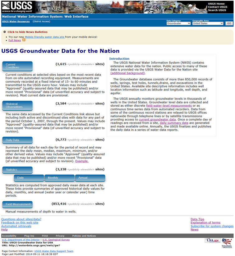 Image of the National Water Information System NWIS web interface