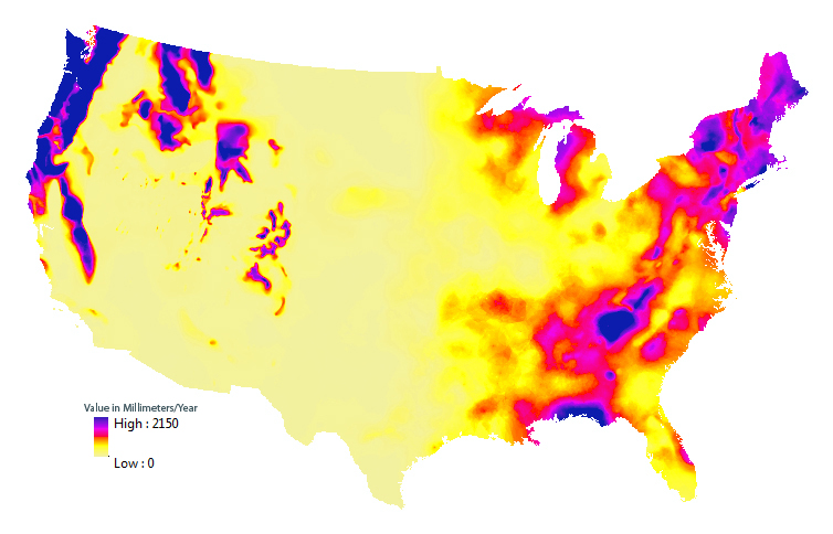 Graphic representative of the estimated mean annual natural groundwater recharge in the conterminous United States.
