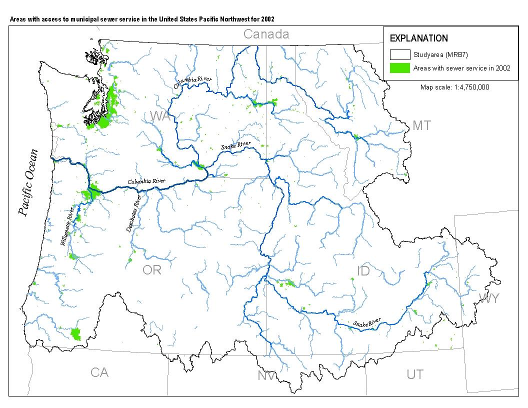 SirPNWSPARROWSewageTreatmentSeweredSeweredAreasjpg - Map of pacific northwest usa