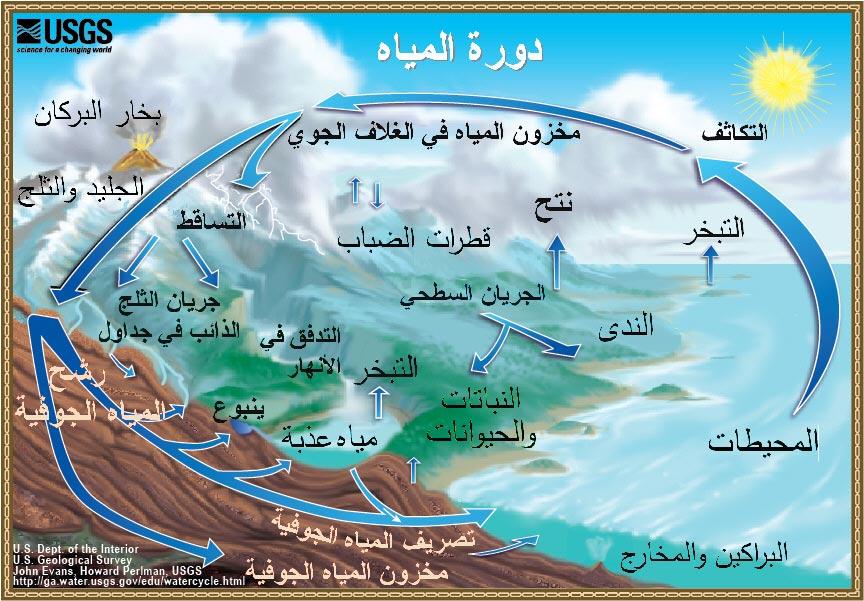 رسم تخطيطي لدورة المياه The Water Cycle In Arabic U S Geological Survey Water Resources