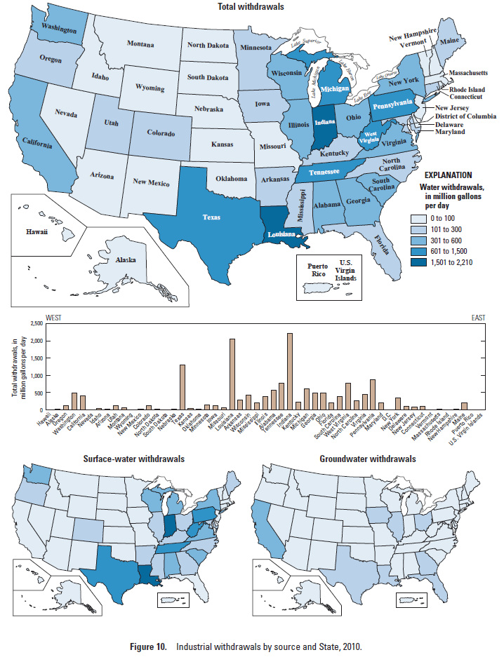 Map Of U S By State Showing Amount Of Industrial Water Use 2010