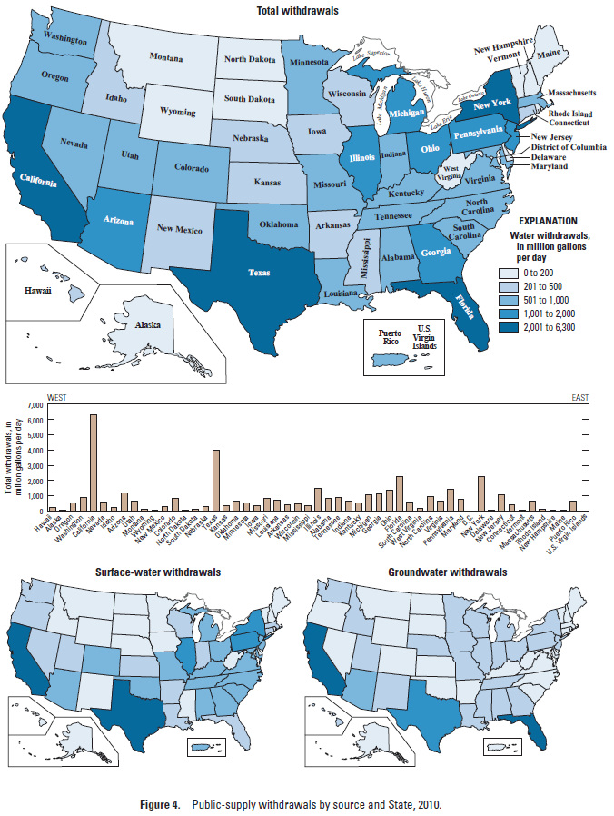 map of u s by state showing amount of public supply water use in 2010