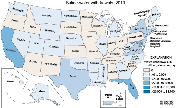 Saline Water Use The USGS Water Science School - Us water ppm map
