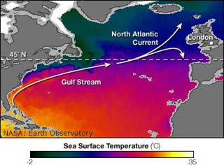 The water cycle water storage in oceans from usgs water science school chart showing atlantic ocean surface temperature from satellite observations cold waters are darker in color gumiabroncs Gallery