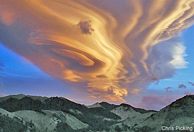 A lenticular cloud over New Zealand.