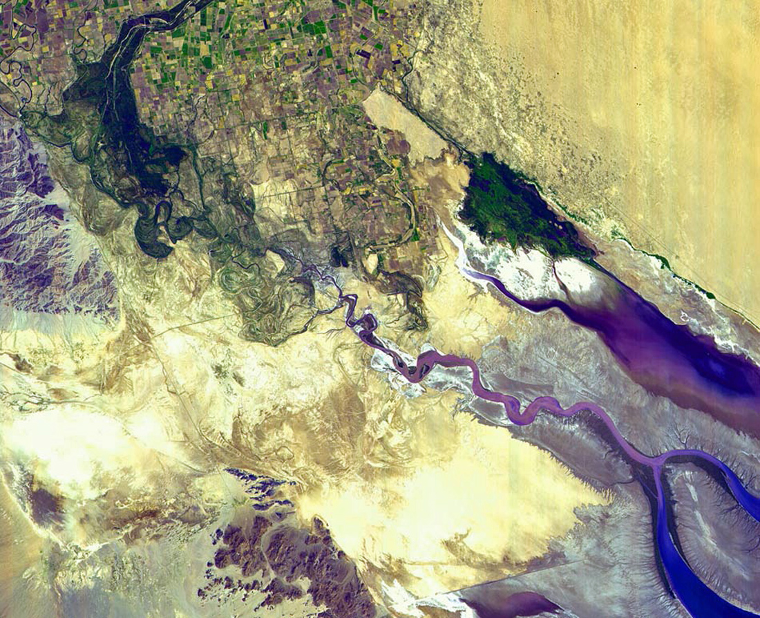 Satellite picture showing the endpoint of the Colorado River in Mexico, just north of the Gulf of California.