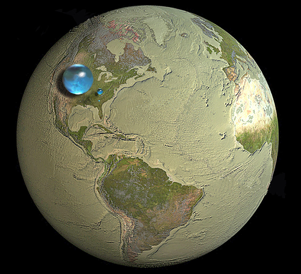 Picture of Earth showing if all, liquid fresh, and the water in rivers and lakes were put into spheres..