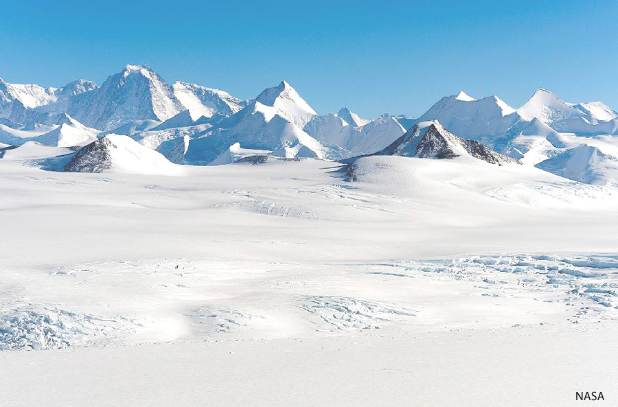 View of the Sentinel Range in the Ellsworth Mountains, Antarctica. Credit: NASA: