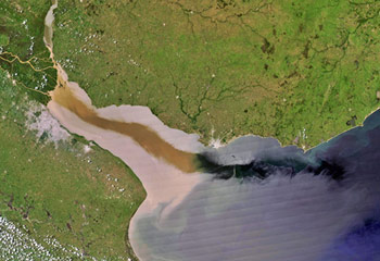 Satellite view of La Plata River discharge to the Atlantic Ocean. (Credit: UNESCO)