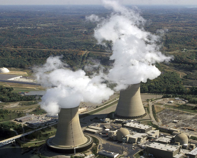 Beaver Valley Power Station in Pennsylvania. Hot water evaporating inside the towers creates steam that rises from large cooling towers.