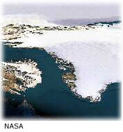 Satellite image of Greenland showing the ice cap.
