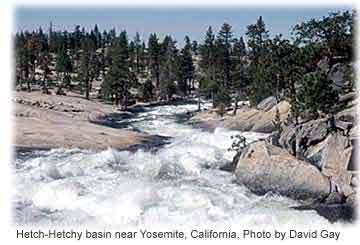 Snowmelt in the Hetch-Hetchy basin near Yosemite, California. Photo by David Gay.