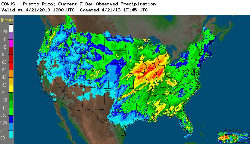 NWS 7-day Precipitation map for April 14 to April 21, 2013