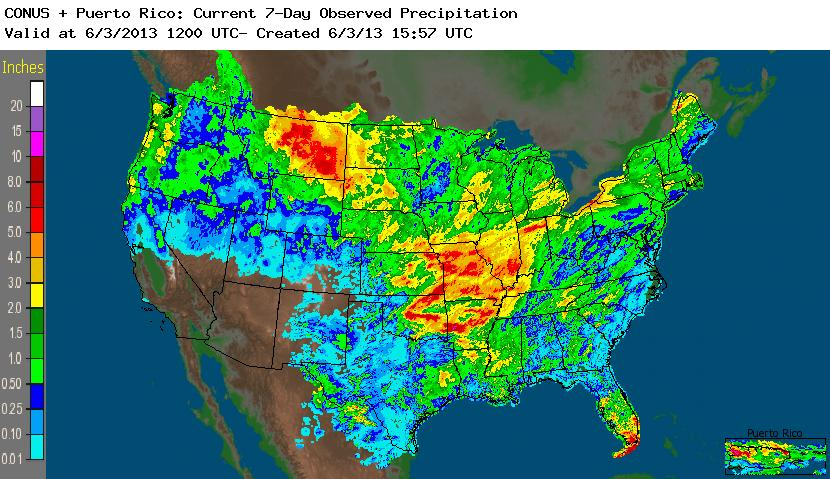 Midwest Flooding Map USGS 2013 Flood Events