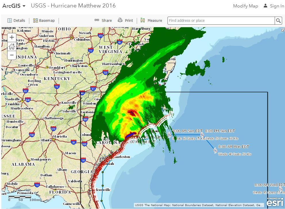 USGS Hurricane Matthew - Us map after flooding