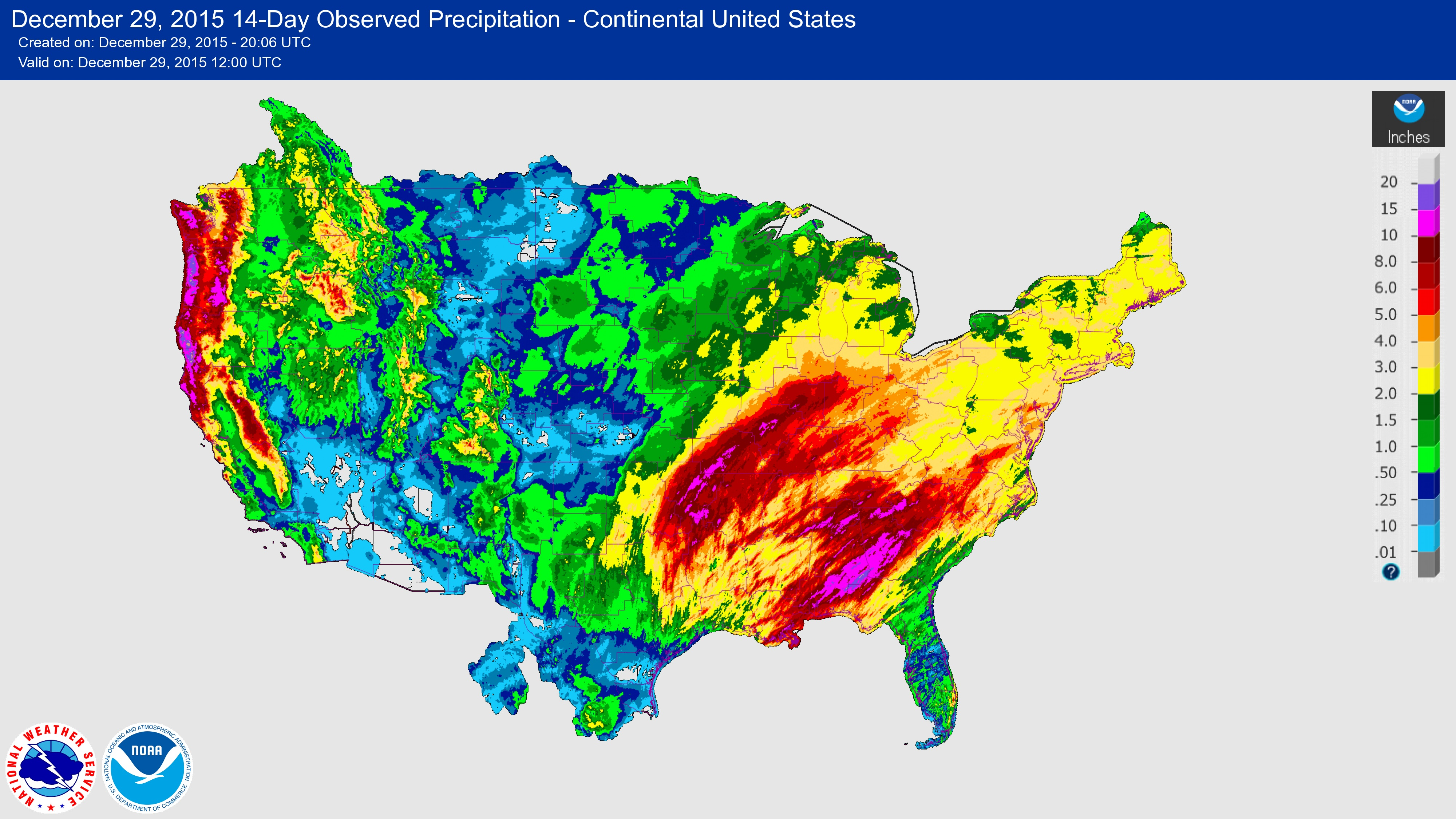 USGS Winter Floods - United states precipitation map