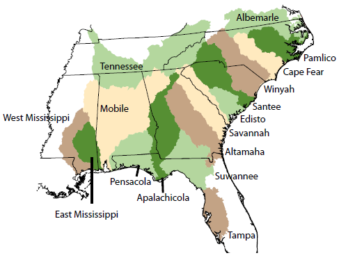 USGS NAWQA Spatial Analysis Of Instream Nitrogen Loads And - Us southeast