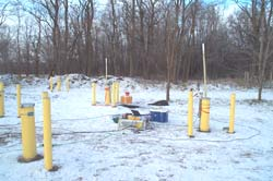 [Photo of borehole radar equipment being set up at Fridely, Minnesota.]