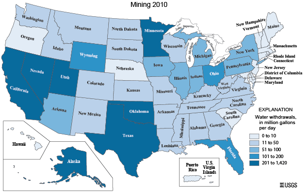 USGS Mining Water Use In The United States - Us iron ore deposits map