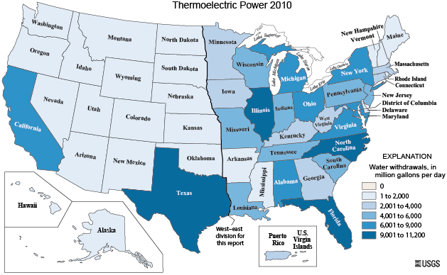 Map Of Thermoelectric Power Water Withdrawals For 2010